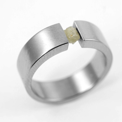 tension-set raw diamond narrow . ring