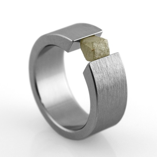 'the one' tension-set raw diamond . ring