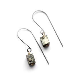 raw pyrite cube . earrings