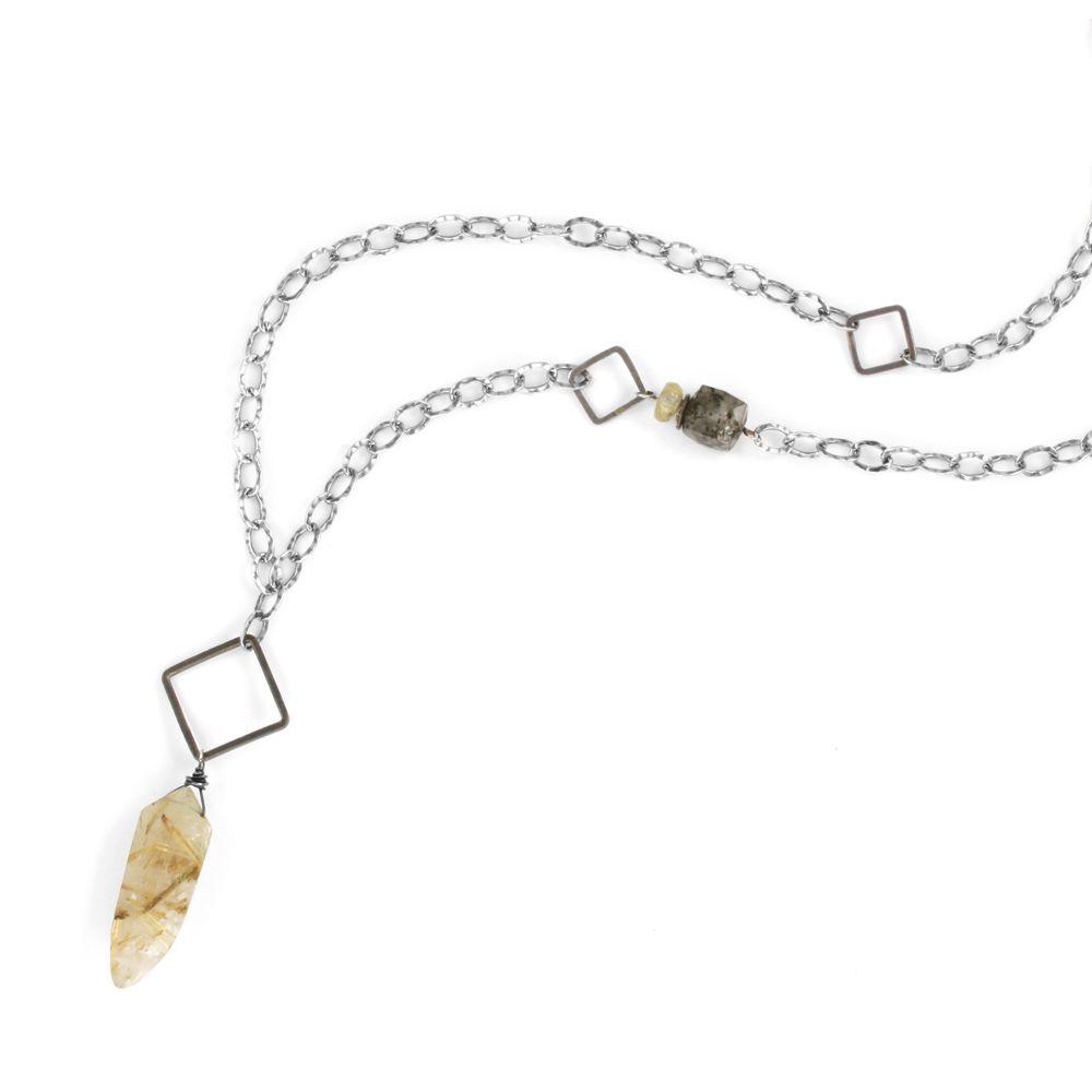 rutile tusk . necklace