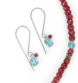 london blue topaz & ruby . earring
