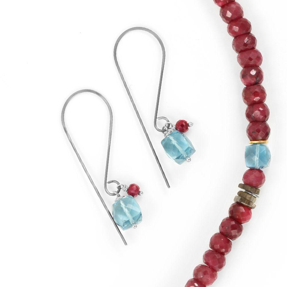 london blue topaz & ruby . earring