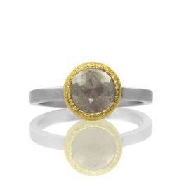 rose-cut diamond solitaire . ring