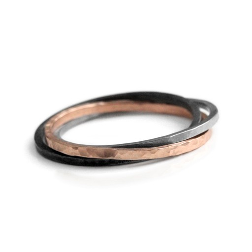 rose gold & stainless 'waxing moon' . ring