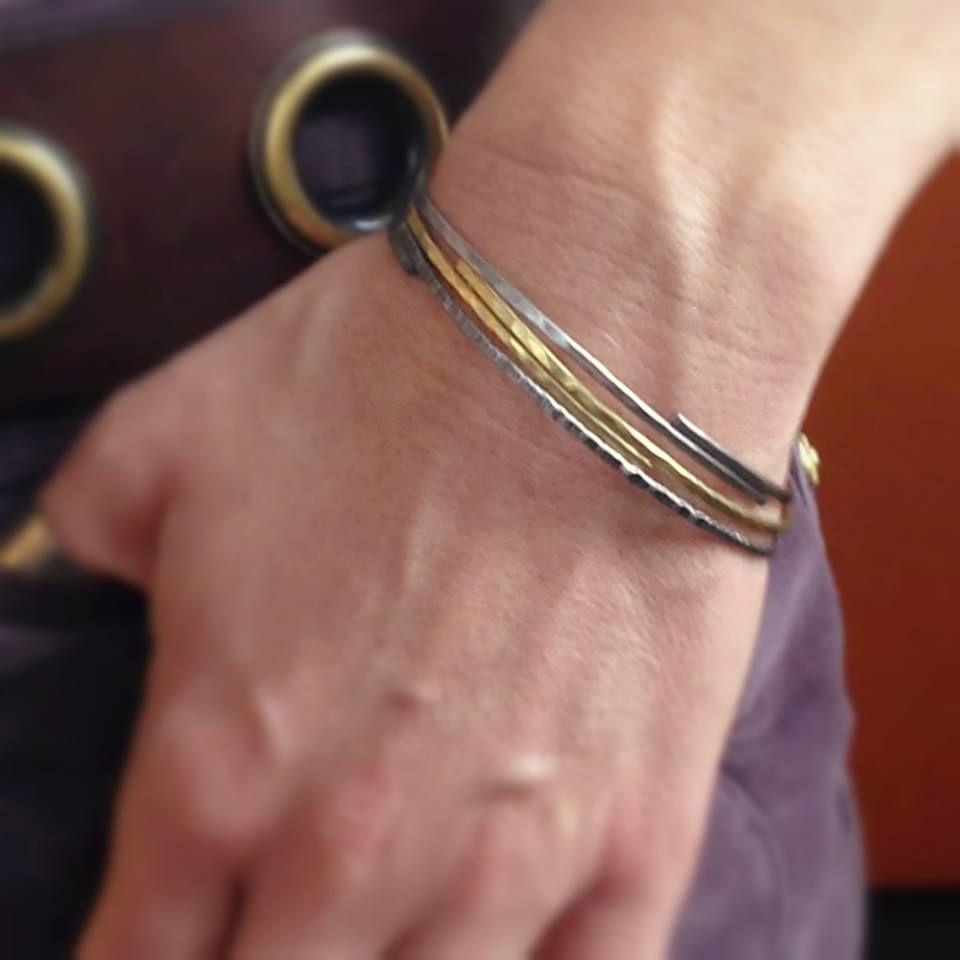 hammered bangle stack trio . bracelets