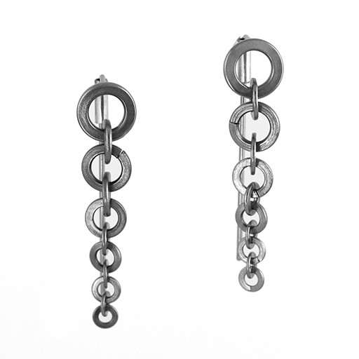 stainless steel tapers . earrings