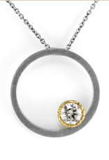 the eclipse gold bezel (round) pendant . necklace