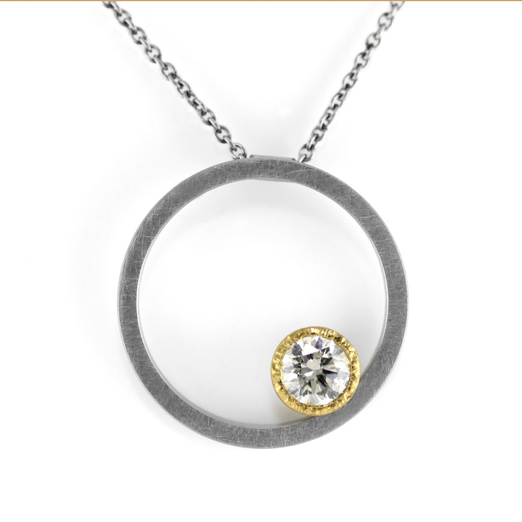 The eclipse gold bezel round pendant necklace kara daniel the eclipse gold bezel round pendant necklace aloadofball Choice Image