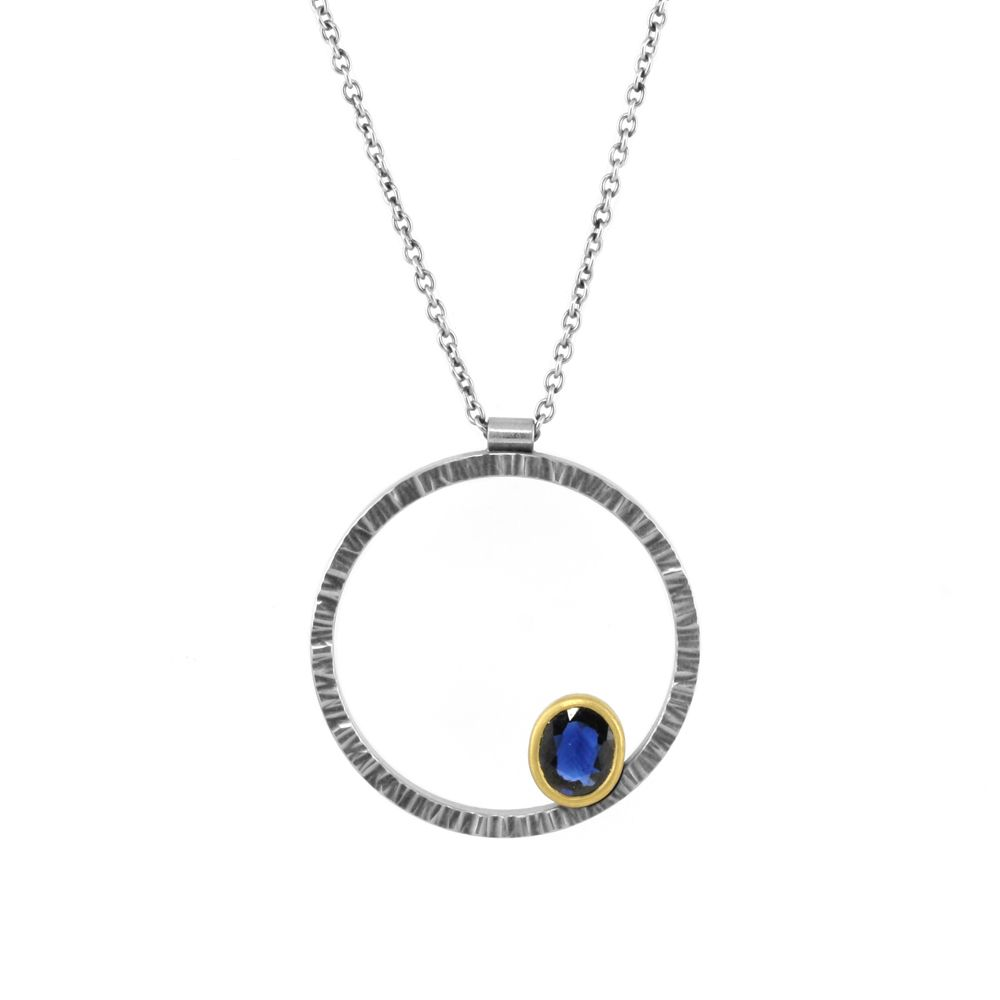 the eclipse gold bezel (oval) pendant . necklace