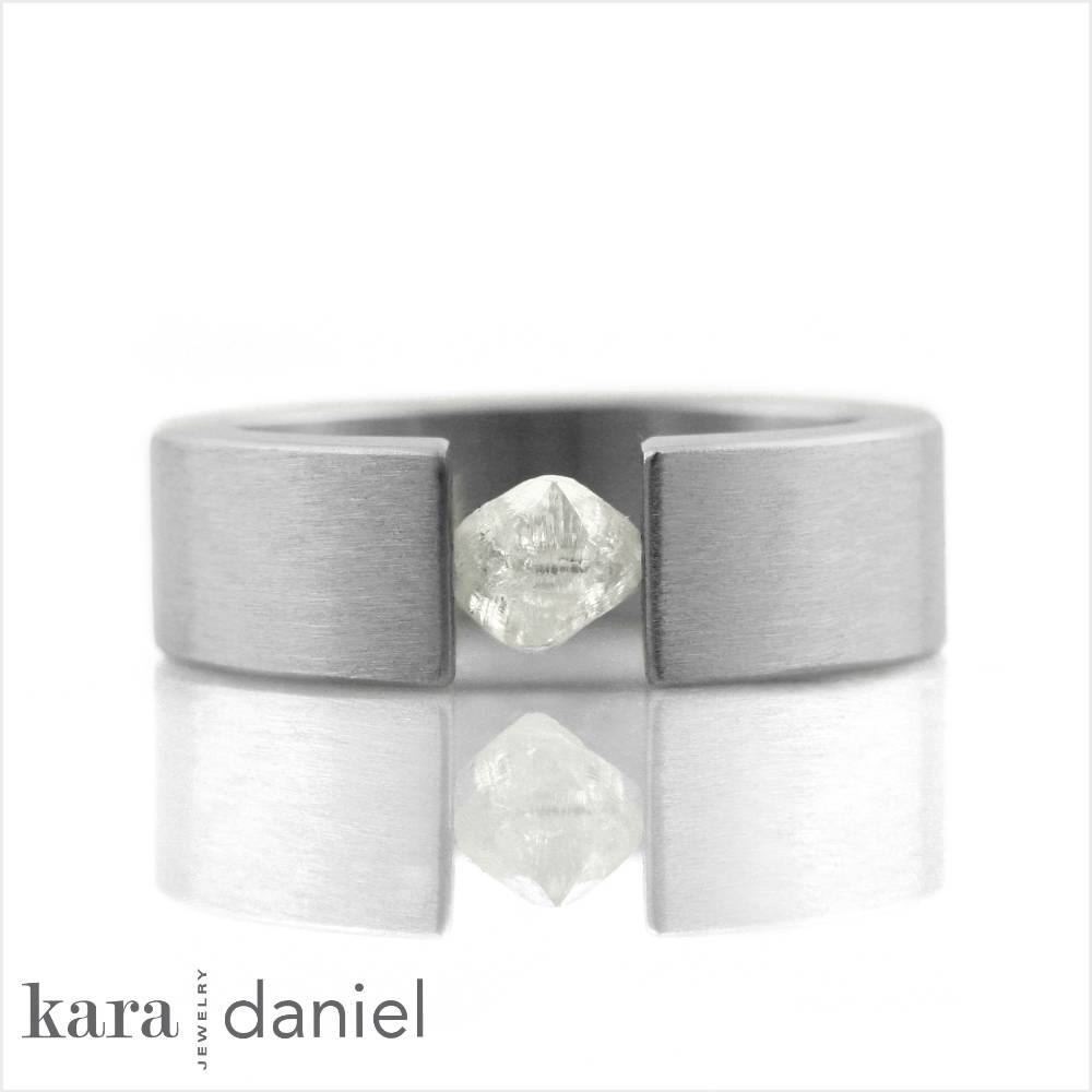 'the one' tension-set raw diamond ring