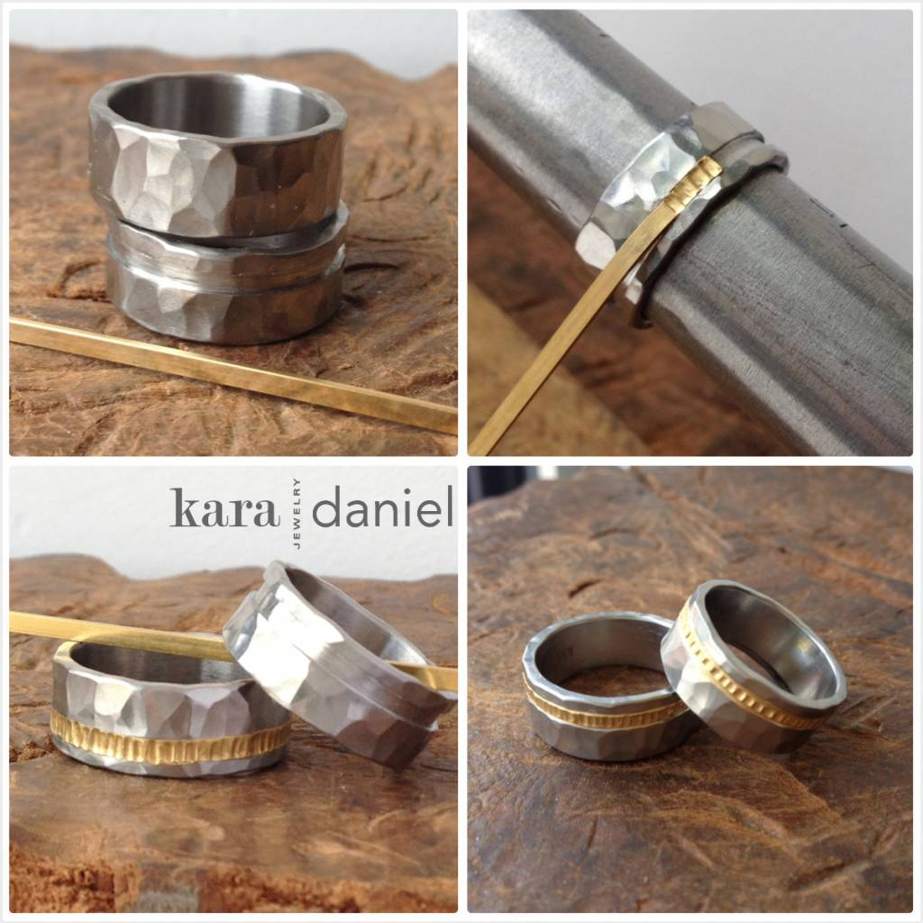 stainless + gold wedding bands