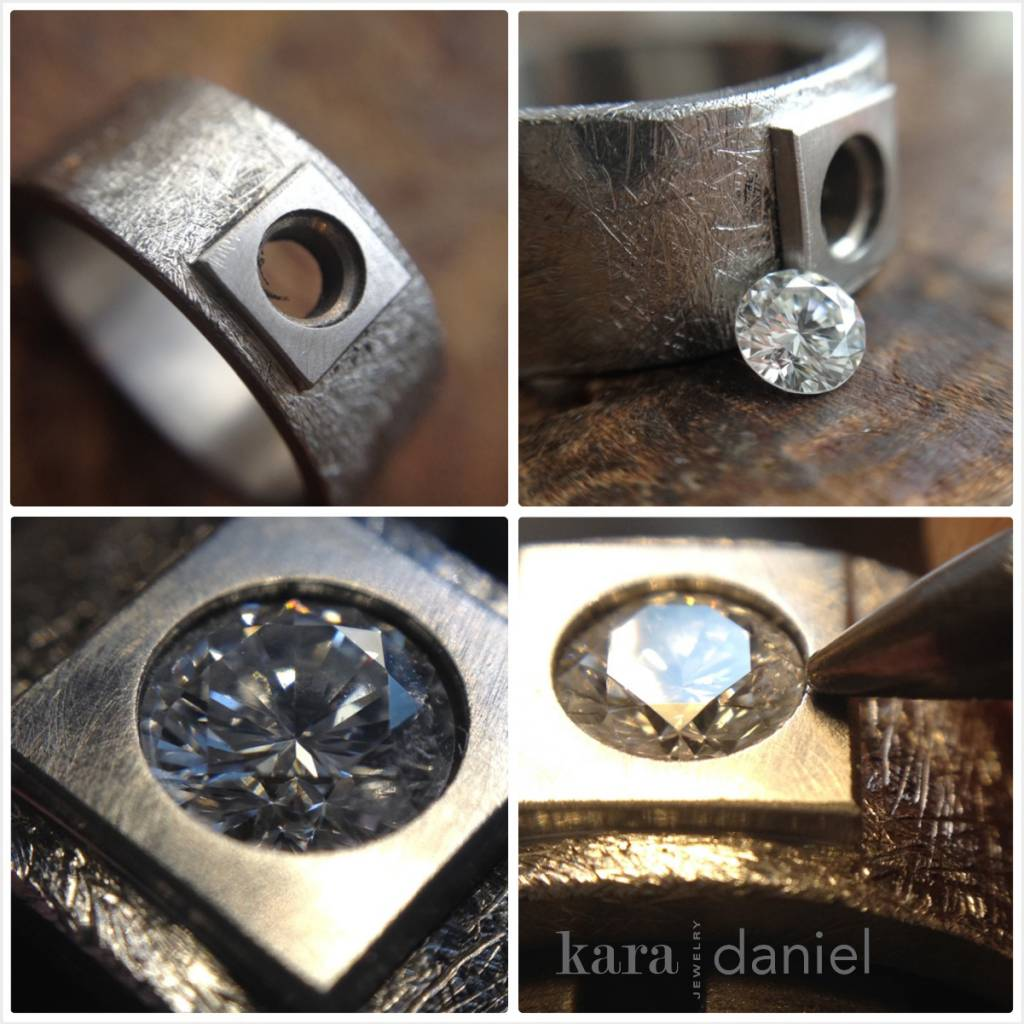 custom square-bezel engagement ring