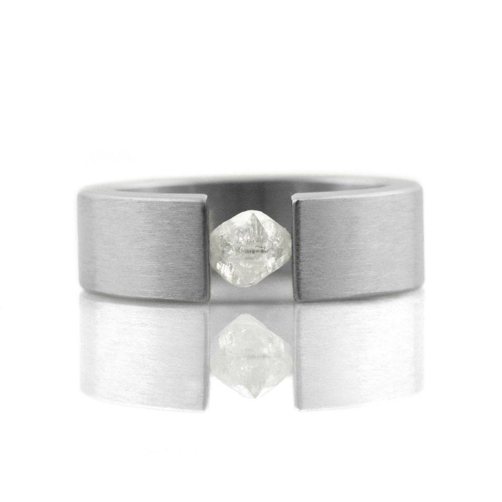 'the one' tension-set .83ct raw diamond . ring