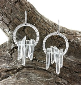 quartz crystal cascade . earrings