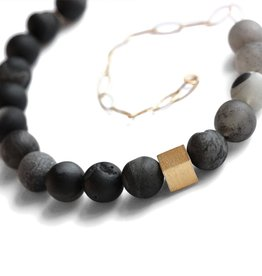 black drusy agate & gold cube . necklace