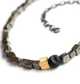 pyrite cubes & drusy agate . necklace