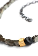 pyrite cubes & drusy agate . necklace