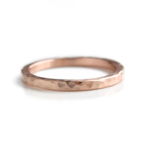 'faceted' rose gold . ring (2mm)