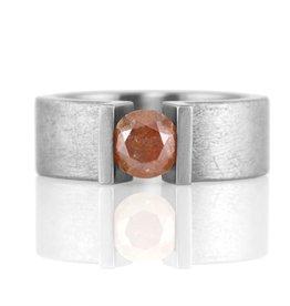 1.1ct red diamond upright prong . ring (sz: 6.75)