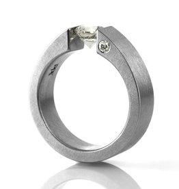 'the one' tension-set stainless . ring (sz: 7)