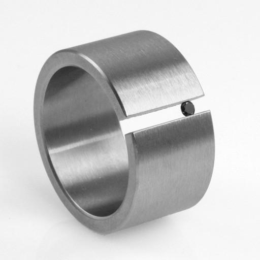 black diamond tension-set . ring (sz: 10)