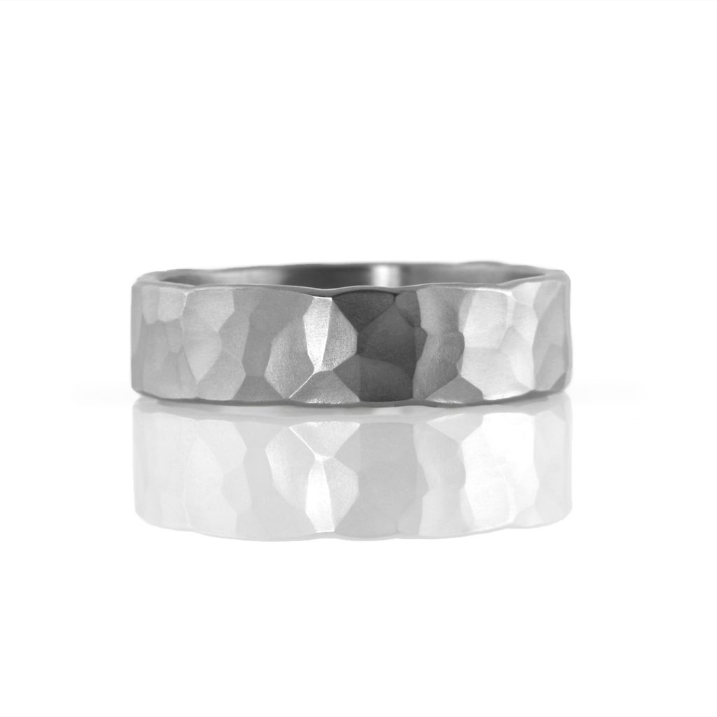 'faceted' wide stainless . ring (sz: 10)