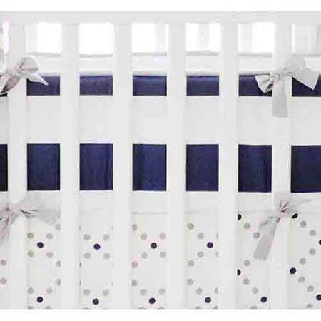 My Baby Sam Out of the Blue Crib Bumper, Navy