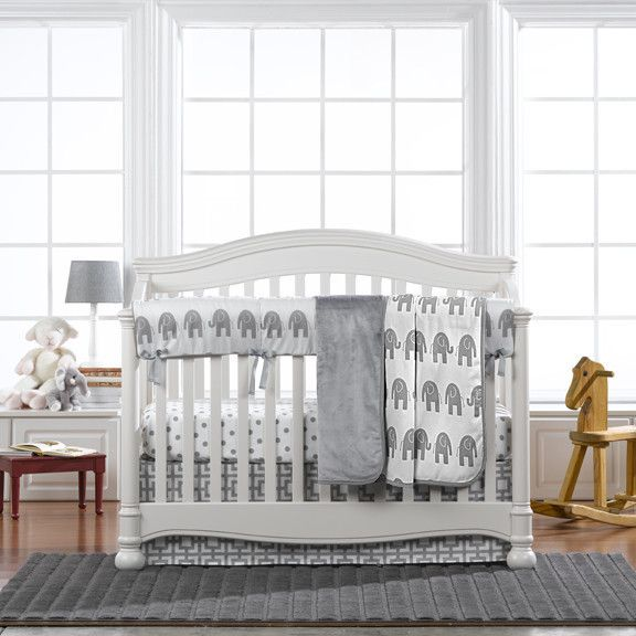 Liz and Roo Gray Elephant Crib Bedding (Bumperless)