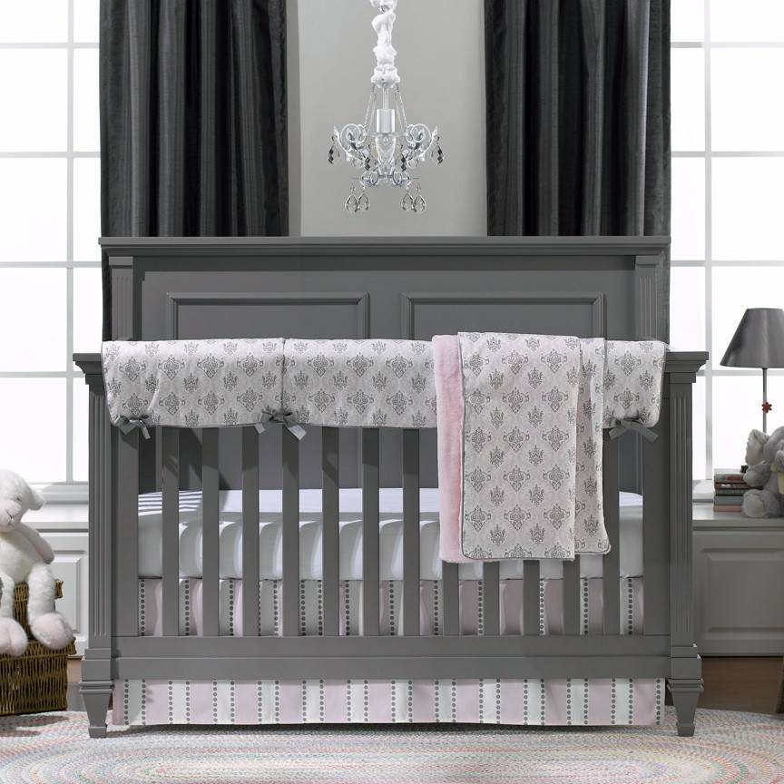 Liz and Roo Bumperless Bedding - Bella (Pink and Gray) Damask