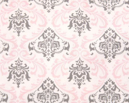 Liz and Roo Window Treatments - Bella Damask (Pink and Gray)