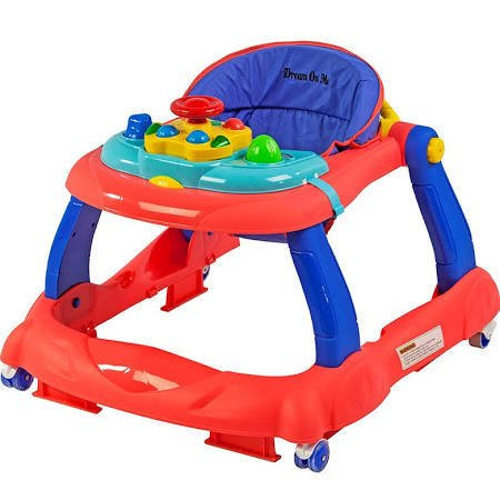 Dream On Me Spirit Activity Walker- Coral & Blue Red Baby Walker
