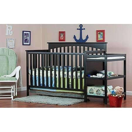 Dream on Me Chloe (665) 5-in-1 Convertible Crib with Changer - Black