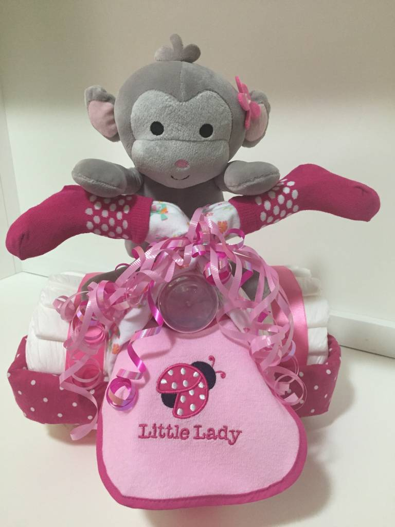 Vika's Creations Monkey Tricycle Diaper Cake - Girl