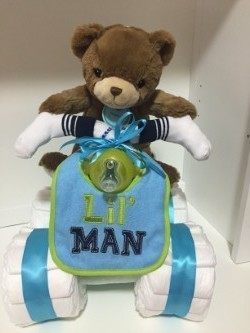 Vika's Creations Monkey Four Wheeler Diaper Cake - Boy