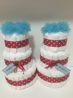 Vika's Creations Thing 1 & Thing 2 Diaper Cake Set