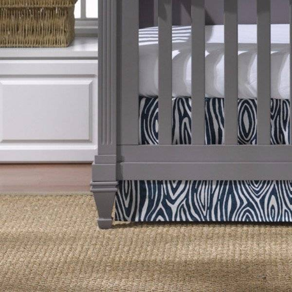 "Liz and Roo Crib Skirt 17"" Drop - Navy Willow"