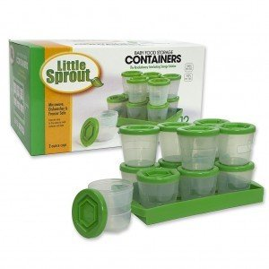 Little Sprout Cups – 12 Stackable Baby Food Containers Green 2oz.