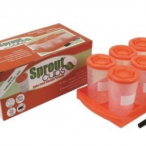 Little Sprout Cups – 6 Stackable Baby Food Containers Orange 4oz.