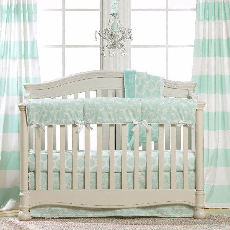 Liz and Roo Bumperless Bedding - Mint Woodland