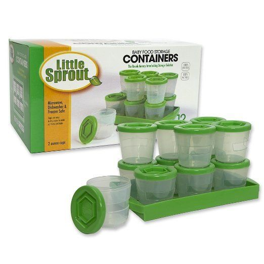 Little Sprout Cups – 6 Stackable Baby Food Containers Green 4oz.