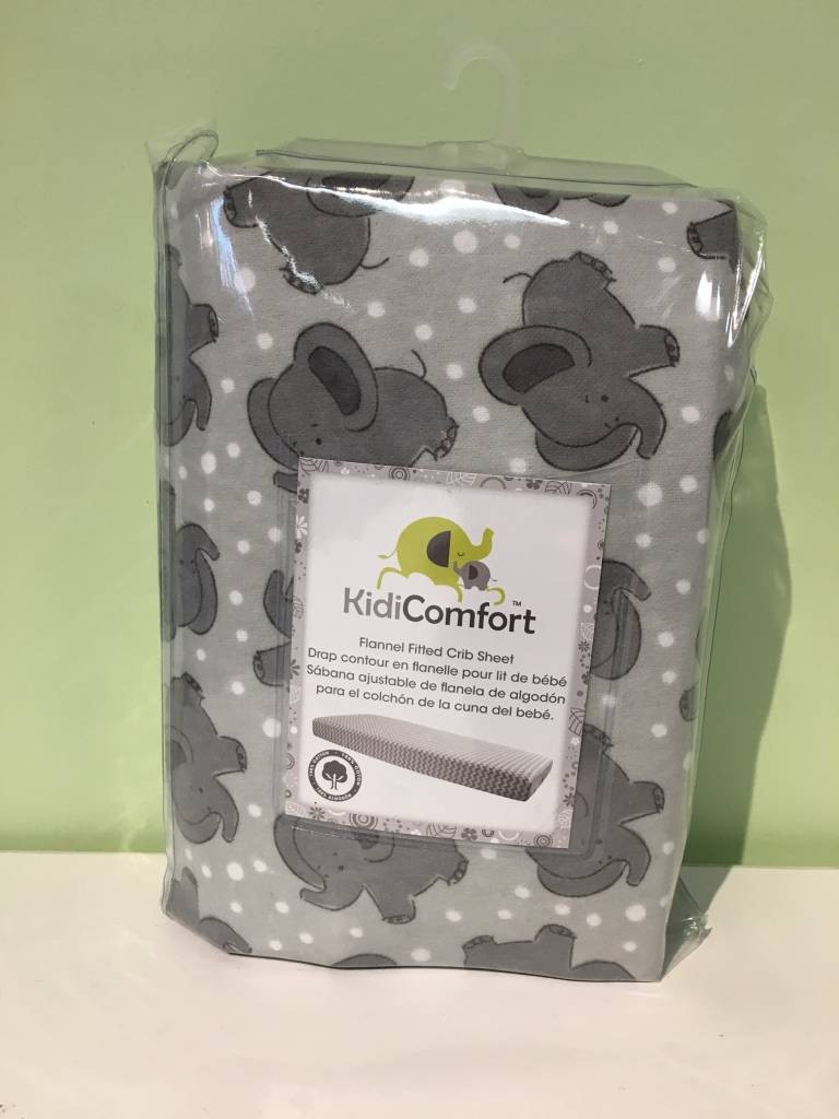 Kidicomfort Flannel Fitted Sheet Elephant Tiny Toes Showroom