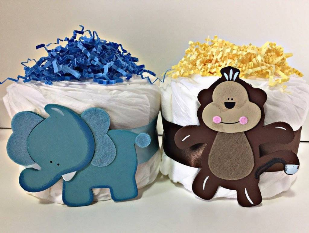 Vika's Creations Mini Monkey Diaper Cake