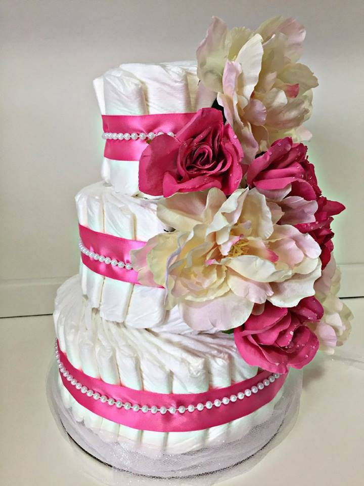 Vika's Creations Pink & Cream Floral Diaper Cake