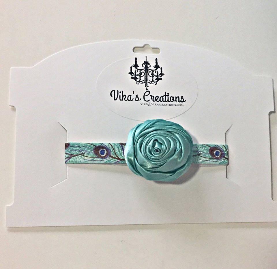 Vika's Creations Headband - Light Blue Rose with Peacock Band