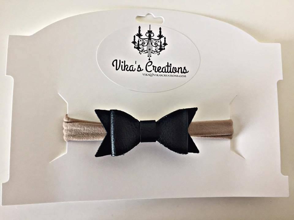 Vika's Creations Headband - Faux Leather Black Bow Nylon