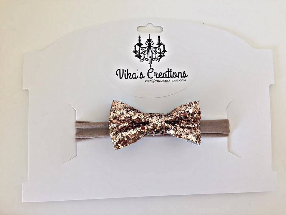 Vika's Creations Glitter Gold Bow Nylon