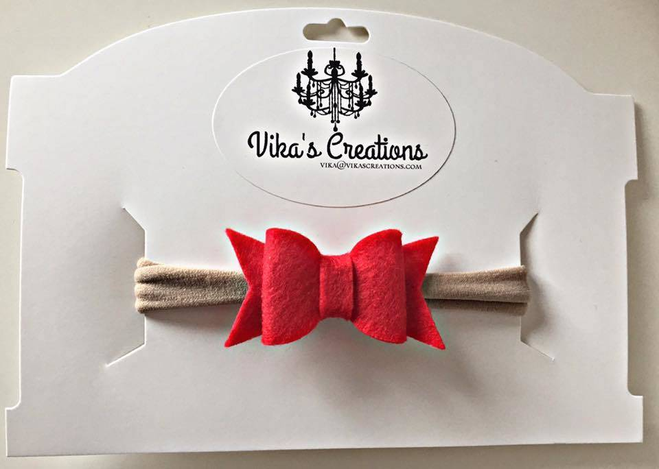 Vika's Creations Headband - Red Felt Bow Nylon
