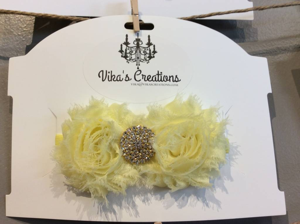 Vika's Creations Vika's Creation -Yellow Bedazzled Bow
