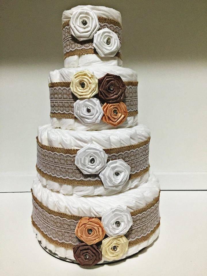 Vika's Creations Beige Diaper Cake