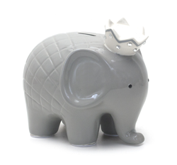 Child to Cherish Coco Elephant Piggy Bank in Grey